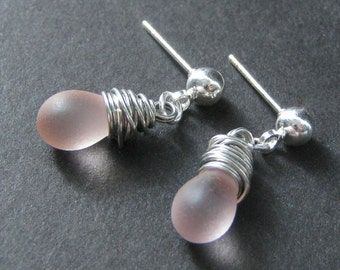 Pink Wire Wrapped Earrings in Silver and Glass with Post Earring Backs. Handmade Jewelry by Gilliauna