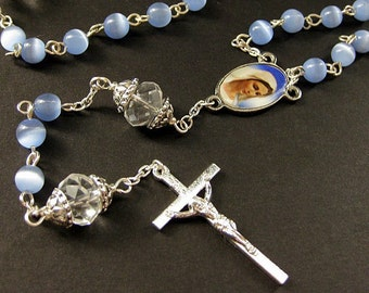 Baby Blue Rosary. Catholic Rosary with Cats Eye Blue Beads and Crystal Paters. Handmade Rosaries.