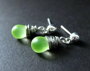 Wire Wrapped Earrings. Dangle Earrings. Stud Earrings in Lemon Lime Glass and Silver. Handmade Jewelry by Gilliauna