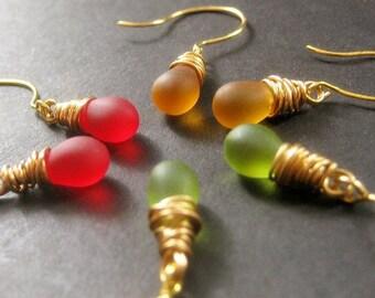 Fall Colors Teardrop Earrings Set of Three, Wire Wrapped, Gold - Autumn Elixirs. Handmade Earrings.