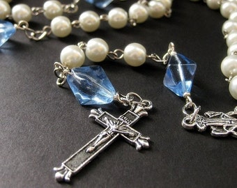 Holy Rosary in White Pearls and Blue Glass. Winterlight. Handmade Rosary.
