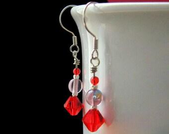 Red Hat Ladies Style Beaded Earrings. Handmade Jewelry by Gilliauna
