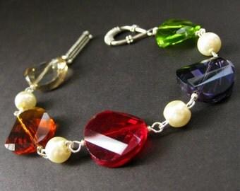 Rainbow Crystal Bracelet in Silver and Ivory Pearl Bracelet. Handmade Jewelry.