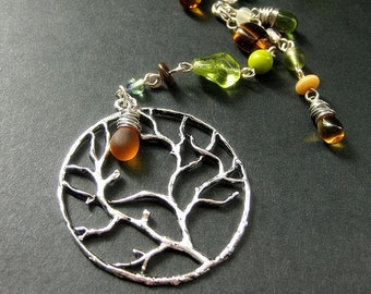Tree Necklace. Fall Leaves Necklace. Tree of Life Necklace. Autumn Necklace. Beaded Necklace. Handmade Necklace. Handmade Jewelry.