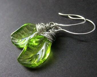 Green Leaf Earrings, Wire Wrapped in Silver. Handmade Jewelry