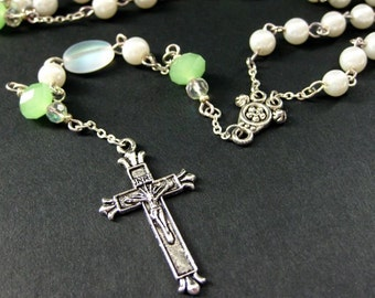 White Pearl and Mint Green Crystal Rosary in Silver. Handmade Rosary.