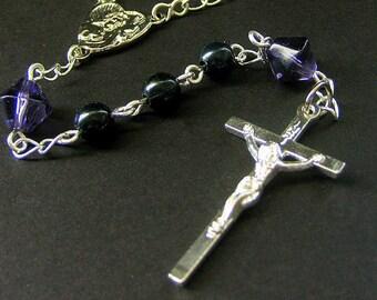 Single Decade Pocket Rosary - Handmade in Purple. Handmade Rosary.