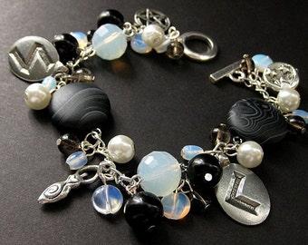 Black and White Runes Charm Bracelet in Moonstones and Smoky Quartz. Handmade Jewelry by Gilliauna