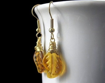 Amber Leaf Earrings, Wire Wrapped in Gold. Handmade Jewelry