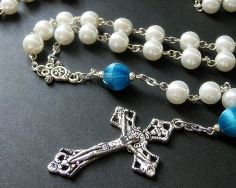 Pearl Rosary in White and Teal Blue Satin Beads. Handmade Rosaries by Gilliauna