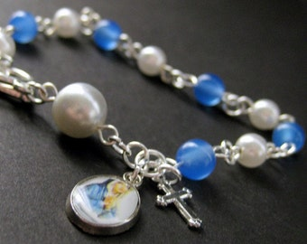 Rosary Bracelet in Blue Agate and Pearl - Blue Lagoon. Handmade Rosary.