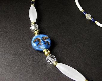 Celestial Eyeglass Holder. Blue Moon Badge Lanyard. Beaded Glasses Necklace. Student Lanyard. White Eyeglass Chain. Handmade Lanyard.