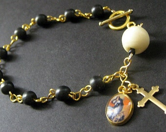 Bone Rosary Bracelet in Black and White - Sacred Vow. Handmade Rosary.