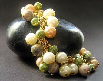 Pearl Bracelet. Gemstone Bracelet. Charm Bracelet in Green - Forest Glen Cluster Bracelet. Handmade Bracelet.
