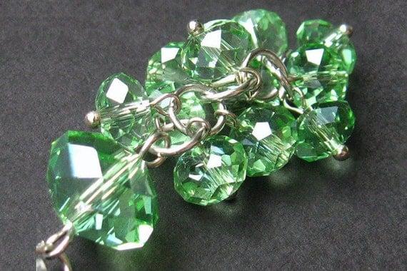 Green Crystal Pendant. Crystal Cluster Charm. Handmade Charm. Crystal Purse Charm, Zipper Pull, Key Chain or Phone Charm.