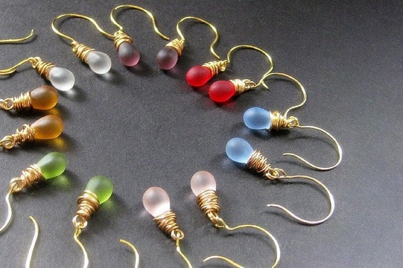 Frosted Teardrop Earrings, Wire Wrapped, Gold, Set of Seven. Handmade Jewelry by Gilliauna