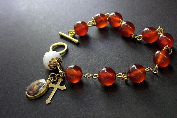 Rosary Bracelet in Carnelian Red Agate and Mother of Pearl. Handmade Religious Jewelry.