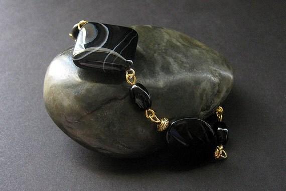 Black Onyx Stone Bracelet in Gold. Handmade Jewelry by Gilliauna