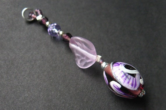 Handmade Key Chain - Handpainted in Lilac. Handmade.