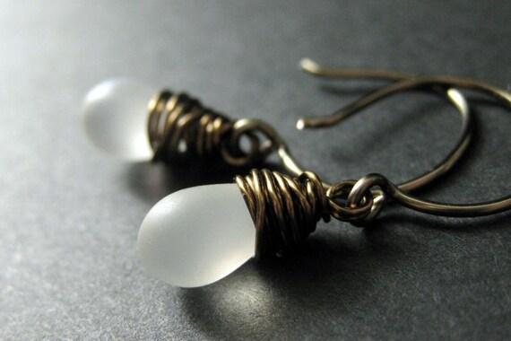 Frost White Earrings: Teardrop Earrings Wire Wrapped in Bronze - Elixir of Frost. Handmade Earrings.