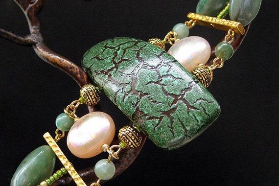Statement Bracelet. Beaded Bracelet. Green Bracelet with Hints of Gold - Esoteric. Handmade Bracelet.