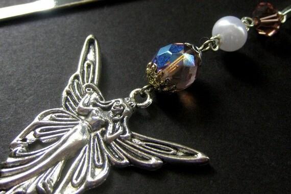 Enchanted Fairy Beaded Bookmark. Purple. Handmade Jewelry by Gilliauna