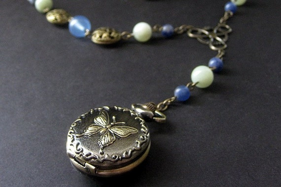 Butterfly Pocket Watch with Blue Chalcedony Necklace. Handmade Necklace.