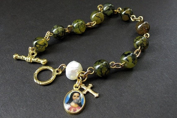 Chaplet Rosary Bracelet in Spider Web Agate and Fresh Water Pearl. Handmade Chaplets.