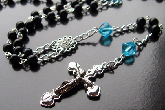 Catholic Rosary in Blue Glass and Black - Spring Waters. Handmade Rosaries by Gilliauna