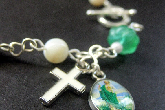Catholic Rosary Bracelet in Mother of Pearl and Green Glass. Handmade Chaplet Rosary.