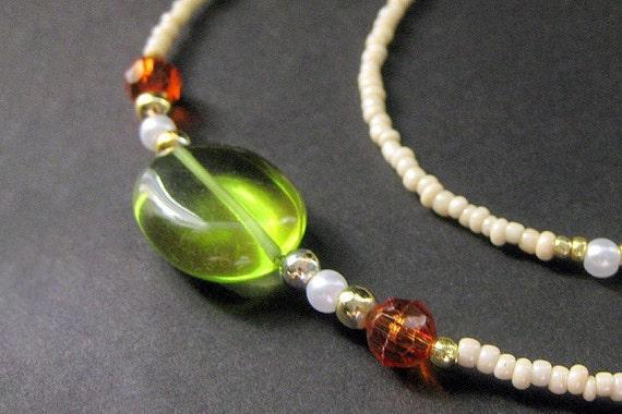 ID Lanyard. Orange and Green Glasses Lanyard. Autumn Amber Eyeglass Necklace. Beaded Lanyard. Student Lanyard. White Handmade Lanyard.