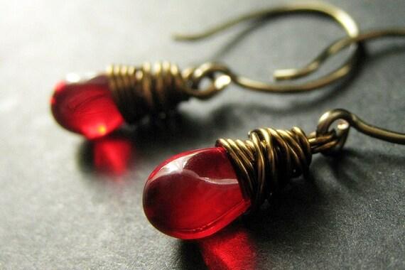Red Earrings: Teardrops Wire Wrapped in Bronze - Elixir of Blood. Handmade Earrings.