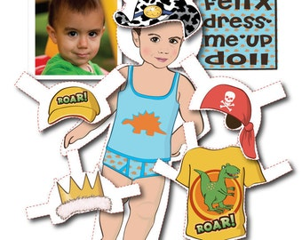 Toddler Boy's Personalized Paper Doll Kit - Printable - DIGITAL FILES