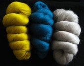 Luxurious Soft Merino Wool Tops/Roving 22 micron. Mustard, Teal, Fawn.