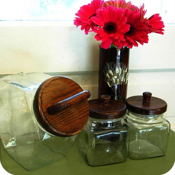 Vintage Sale Glass Cookie Jar And Two Square Jars With Wood