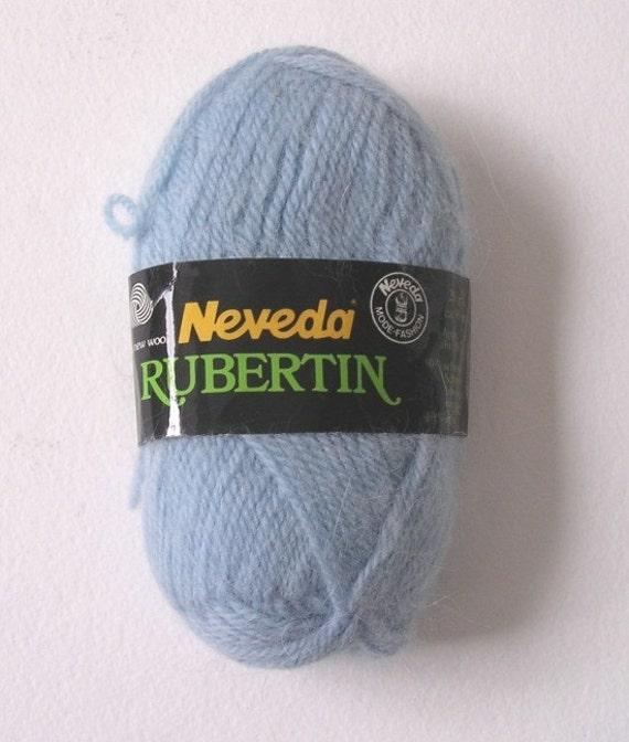 6 Skeins Neveda Rubertin Wool and Angora Yarn Baby Blue European