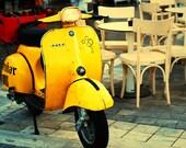 Be Italian 5x7 (13x18cm) Fine Art Travel Photography Vespa Motocycle Yellow Mustard Vehicle Italian Style Italy Greece Europe
