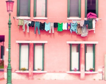 Murano photograph, Venice, Italy, photography, laundry photo, pink, architecture, travel photography, beautiful home decor, 8x8, 8x10, 8x12