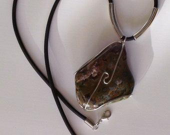 Rhyolite stone necklace