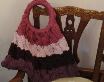 knit striped cable purse