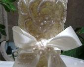 Luxury Unity Candle Set in Ivory/Off-White Alencon Lace