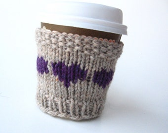 Travel Cup Cozy, Valentines Gift, Knit Coffee Sleeve, Coffee Cup Sleeve, Gift for Her, Friend Gift, Coffee Lover Gift, Coffee Cup Gift