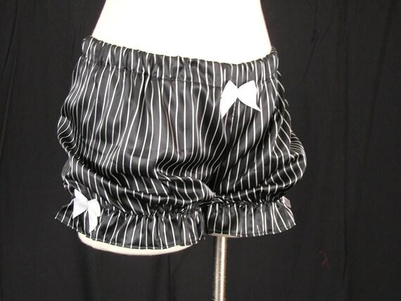 SALE Black with White Pinstripe Mini Burlesque Bloomers Size Medium-SugarKitty Corsets