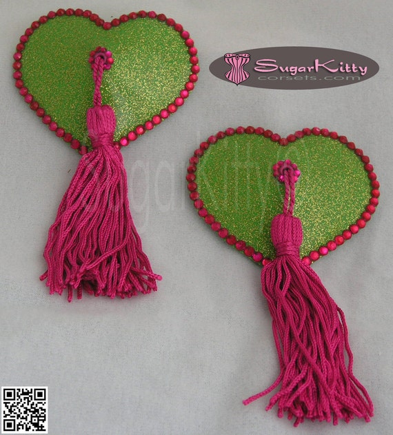 Green Heart Glitter Vinyl Pasties With Pink Rhinestones & Tassels - SugarKitty Corsets