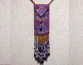 Amulet Bag Necklace Containing Glass Vial - Beaded Fringe