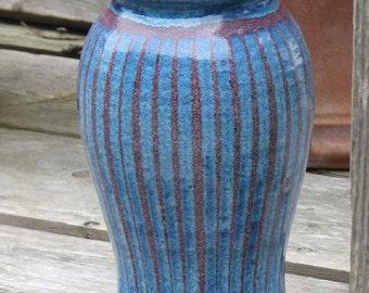 Contemporary Tall Stoneware Vase - Maroon Blue Stripes