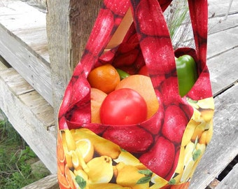 Patchwork Market Tote - Colorful Fruits and Vegetables -- Reversible Cotton
