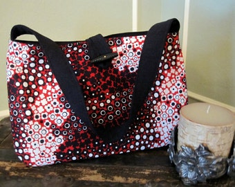 SALE - Bag, Purse, Handbag, Nook, Kindle, Mini-Ipad Case, Cover, Red, White and Black Dots