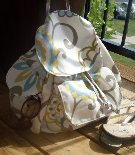SUMMER SALE Gorgeous and Fun Backpack, Beach Bag in Waverly Pom Pom Spa READY To Ship