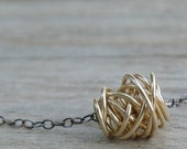 Wire Wrapped Simple Necklace, Gold and Oxidized Sterling Silver Necklace, Sterling Silver Necklace, Small Pendant Necklace